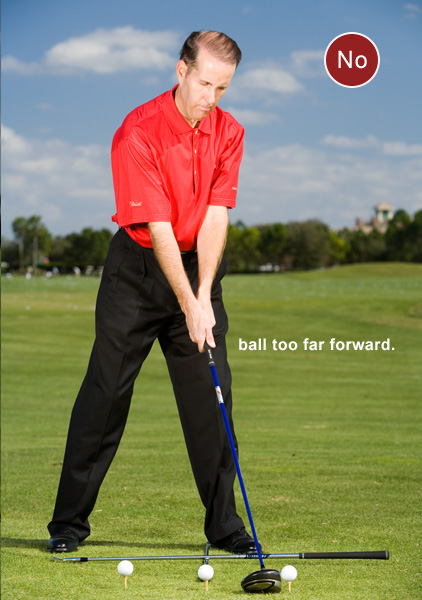 How to Set the Ball for Straight Drives                        Where you position it in your stance helps determine accuracy                       By Brad Redding                        Top 100 Teacher                                              This story is for you if...                                              • You rarely hit a dead-straight drive • You never think about where you tee the ball in your stance                                              CHECK THIS! Select a target and take your address position with a teed ball and your driver. Have a friend lay an iron on the ground with the head against your left heel and the grip out toward your target line. Then have him lay a second iron parallel to your target line along the front of your toes. This second club will rest on top of the first one.