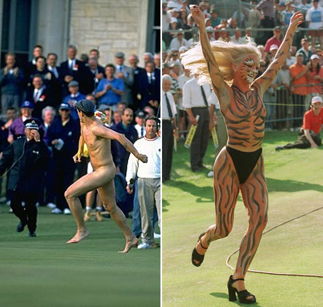 Despite the august atmosphere at the British Open – or perhaps because of it – some people like to wear nothing at all during the tournament. Streakers have caused an uproar on several occasions, including the 1995 Open (left) and the 1997, when a woman body-painted like a tiger tried to approach Woods. He may have been disconcerted, because Justin Leonard won.