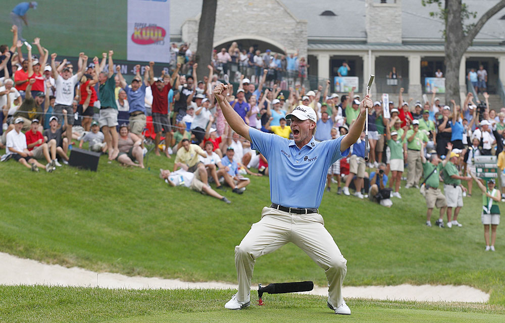 Steve Stricker                       Reason to Celebrate: Stricker birdied the 18th hole to win the John Deere Classic for the third straight year.