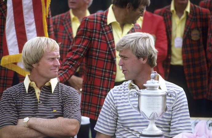 Hal Sutton Edges Jack Nicklaus at the 1983 PGA Championship                     The Golden Bear never did win at Riviera, and a man once called the Baby Bear is partly to blame. At the PGA, Nicklaus closed with a 66 on Sunday, only to be denied by the young phenom Hal Sutton, who secured a victory by stuffing a 5-iron to 14 feet on the punishing 18th.