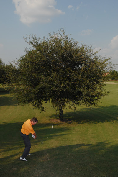 How to Fly Tall Obstacles                       Tree trouble? No trouble! Here's how to go right over it.                       By Brian Mogg                       Top 100 Teacher                                              The Situation                                              Your drive missed the fairway, but you're a mid-iron from the green. Your lie is good — the only trouble is a sizable tree standing between you and the pin.                                              The Solution                       You could make the safe play and hit a half-wedge back to the fairway, but in this situation you need to make something happen in your round. With a few minor adjustments to your setup and swing you should be able to loft the ball high enough to clear the tree and land on the green.