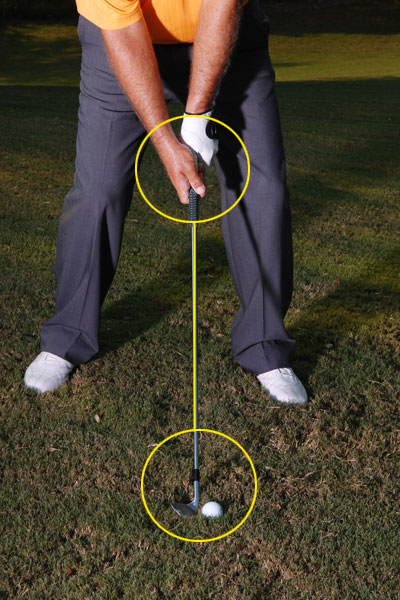 HOW TO HIT AN EXTRA-HIGH APPROACH                                          STEP 1                                          Position the ball forward in your stance, toward your left heel. After soling your club, set your hands even with the ball (don't lean the shaft forward). Also, rotate the clubface open a few degrees (clockwise) to give the club extra loft.