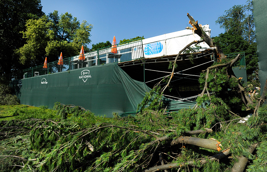 Several hospitality tents were damaged, and smaller tents were completely blown away.