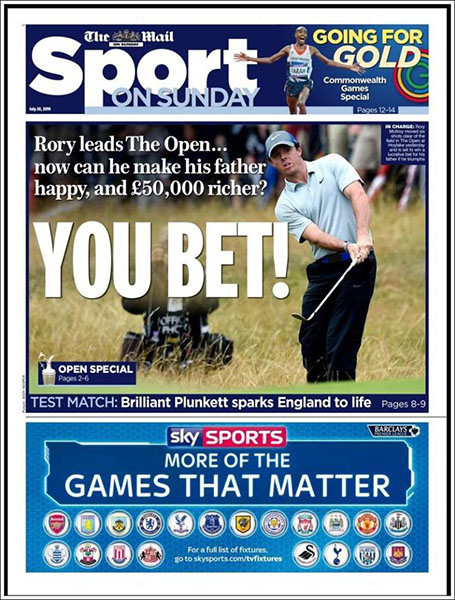 "The Daily Mail Sport - Others touched on a bet made by his father. ""You Bet!"" Sunday, July 20, 2014."