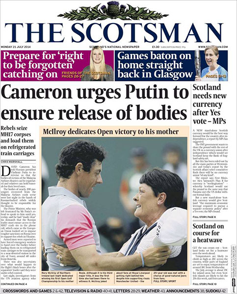 "The Scotsman - ""McIlroy Dedicates Open Victory to His Mother,"" Monday, July 21, 2014."