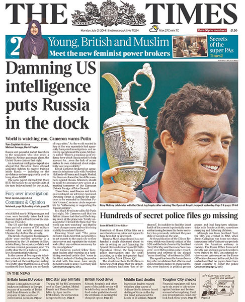 "The Times (UK) - ""Rory McIlroy Celebrates with the Claret Jug,"" Monday, July 21, 2014."
