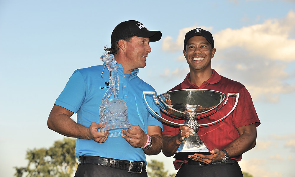 Despite not winning a major in 2009, Woods won six PGA Tour titles, including the season-long FedEx Cup points race after finishing second to Phil Mickelson at the Tour Championship. It was the second time in three years Woods won the $10 million bonus.
