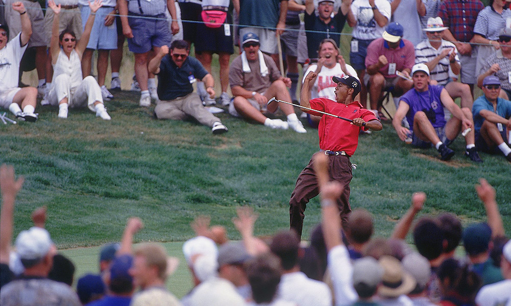 Woods won his third consecutive U.S. Amateur title in 1996, which gave him one more victory in the event than his childhood hero, Jack Nicklaus.