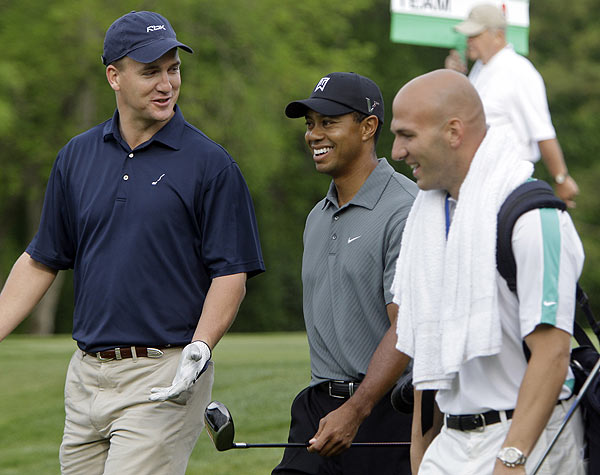 Pro-Am at Quail Hollow Championship                       Peyton Manning joined Tiger Woods Wednesday for the Pro-Am. Manning also brought along Indianapolis Colts' Anthony Gonzalez to caddie for him.