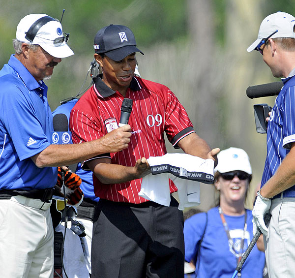 Before their round, Tiger Woods presented Stenson with an autographed pair of Nike underwear. Stenson stripped down his underwear at last week's CA Championship.