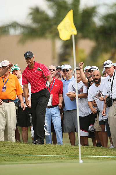Tiger Woods chipped in on the par-4 sixth hole for birdie.