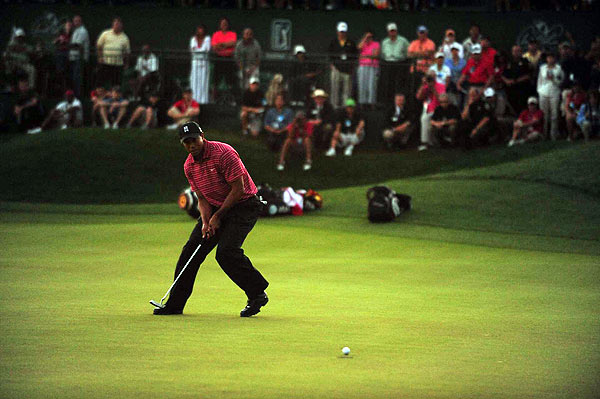 Final Round of the Arnold Palmer Invitational                       Tiger Woods sunk a 15-foot birdie putt on the final hole to win his first tournament since returning from knee surgery.