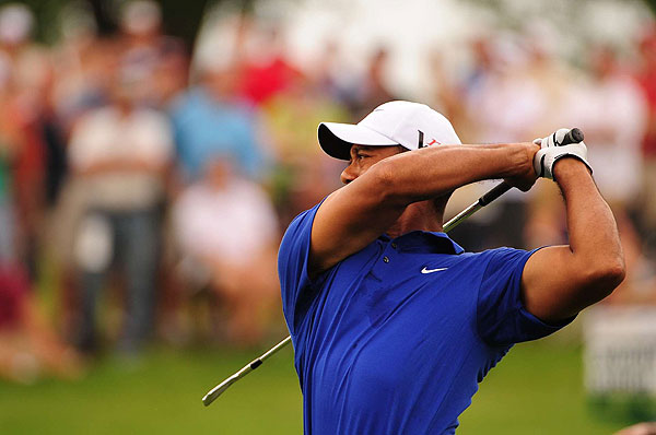 """""""It is a rush,"""" Woods said Saturday. """"It's fun to go out there and test what you have, and other guys are throwing it at you and hopefully I can throw it back at them."""""""