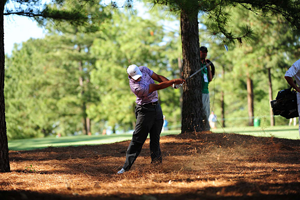Woods had four birdies on the back nine to shoot 70. He is vying for a fifth green jacket.