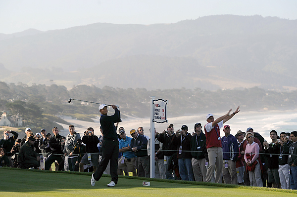 may benefit from the shorter layout at this year's Open at Pebble Beach. The course is playing about 500 yards shorter than Bethpage Black last year. This way, Woods will not have to use his erratic driver as much as usual.
