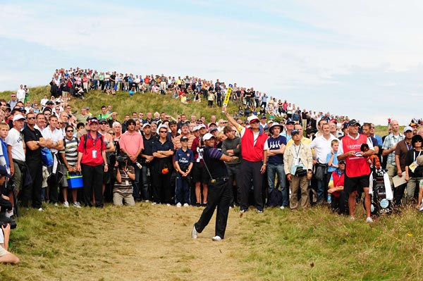 Looking frustrated, and at times furious, Tiger Woods missed only the second major cut of his professional career.