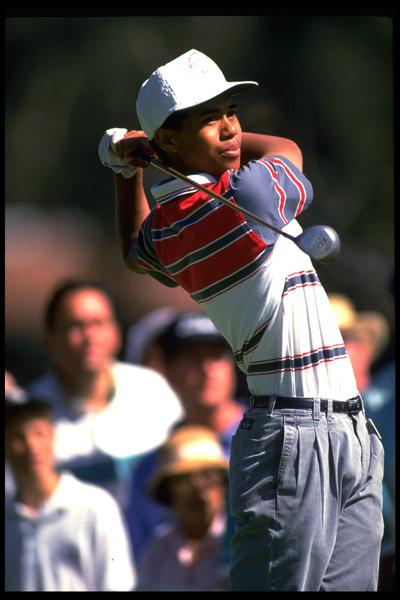 Tiger holds his finish at the 1992 Los Angeles Open. After missing the cut, he wouldn't play another PGA Tour event until the L.A. Open next year.
