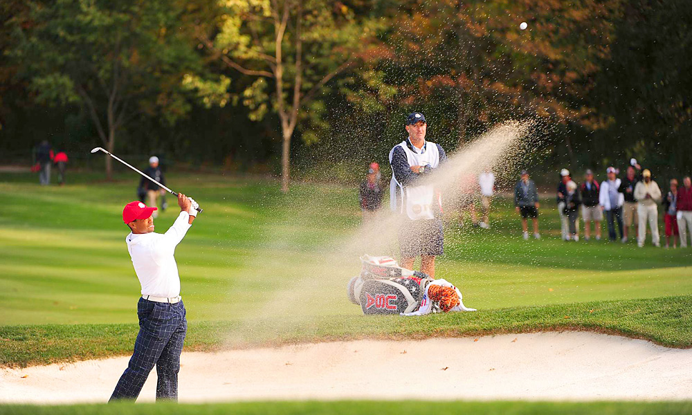 Tiger Woods hooked his tee shot on the first hole and continued to struggle during foursomes.