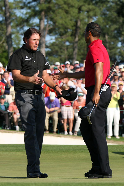 Woods and Mickelson were paired together in the final round of the 2009 Masters. Both players made a run at the lead on the front nine, but they also both faded down the stretch. Mickelson finished fifth at nine under, one shot better than Woods.