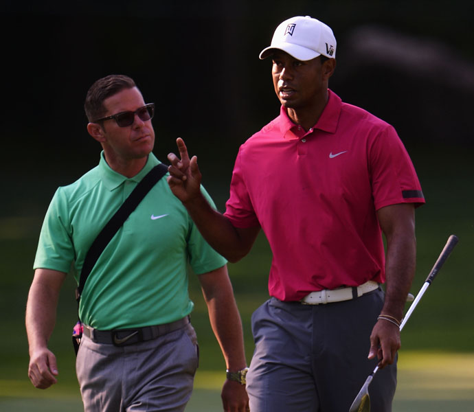 Tiger Woods                     Tiger Woods works with his coach Sean Foley during on the final day of practice before the PGA Championship gets underway on Thursday.