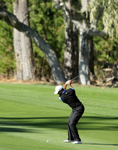 Woods opened the round nicely with back-to-back birdies on Spyglass Hill's 10th and 11th holes.