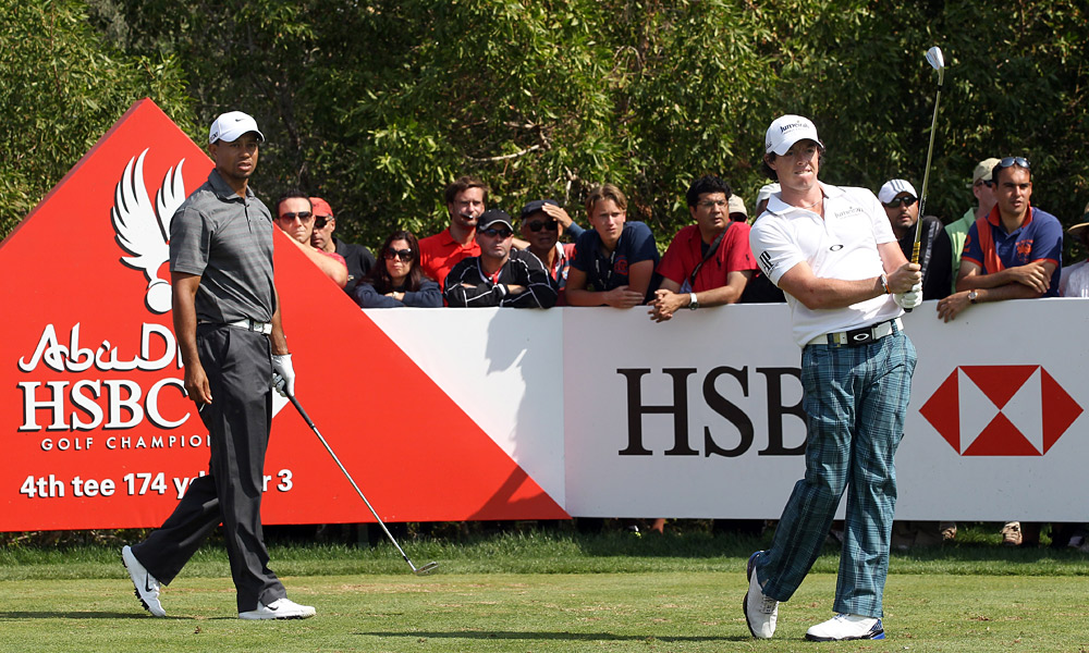 Rory McIlroy played with Woods for the third day in a row, and nearly kept pace. He is two shots back after a four-under 68.