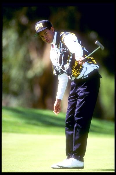 Tiger also had his hold-the-putter-with-one-hand move perfected as a teenager, seen here at the 1993 L.A. Open.