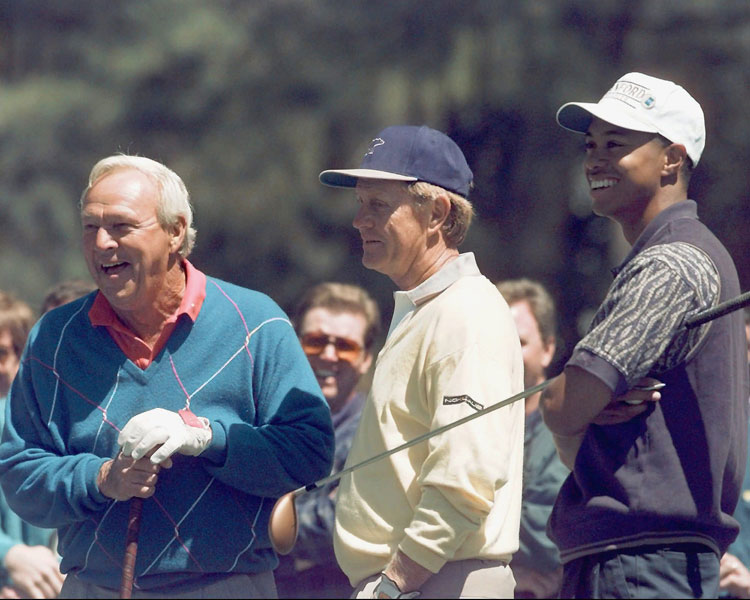 From left: Arnold Palmer, Jack Nicklaus and Woods during a practice round in 1996. Woods shot 75-75 and missed the cut.
