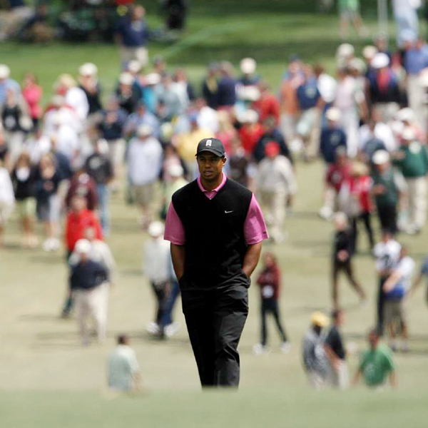 A birdie on No. 13 put Tiger back at even par.