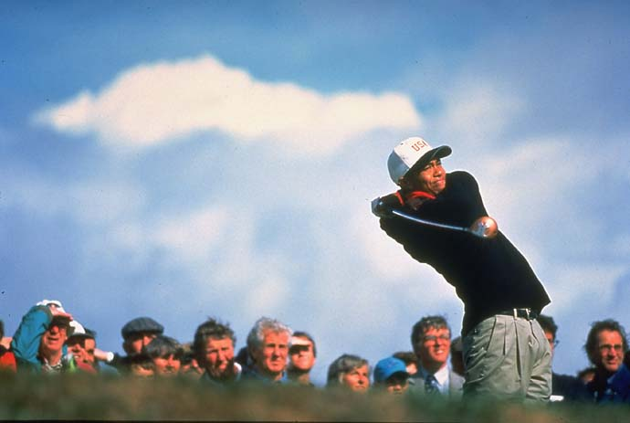Tiger Woods strikes a heroic pose at the 1995 Walker Cup at Royal Porthcawl in Wales. However, Woods' Team USA lost to a Great Britain and Ireland team that included Padraig Harrington.