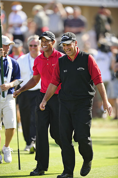 After Woods and Rocco Mediate tied in regulation, they played an 18-hole playoff on Monday that once again failed to break the tie. Tiger sunk his putt for par on the first sudden-death hole to finally win.