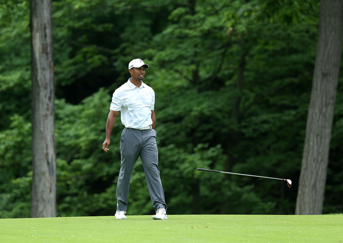 Tiger Woods shot a seven-over 79 on Saturday to finish near the bottom of the leaderboard.