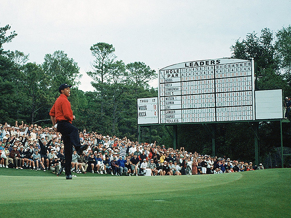 """No. 6.                     """"A win for the ages!"""" Tiger Woods wins the 1997 Masters by 12 strokes and golf history is changed forever.                                           As a description of an African-American athlete's triumph at a bastion of Old South tradition, and also Woods's arrival as the athlete of his generation, Nantz's call came up aces."""
