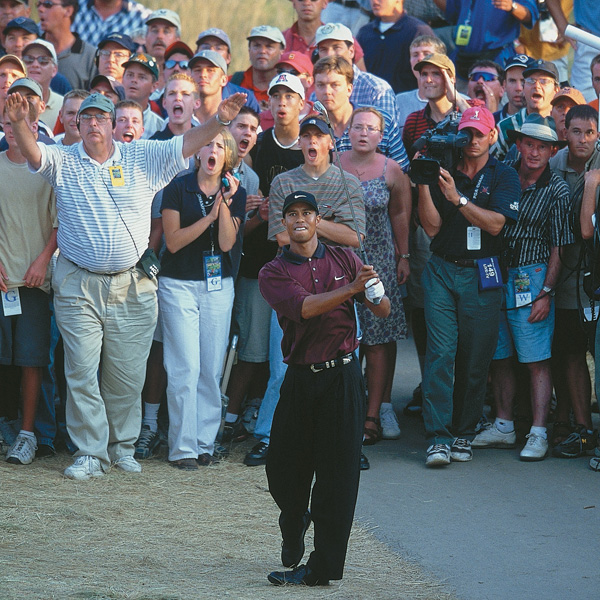 2000                                                                     From the hardpan on the left side of the fairway, with a major championship on the line, Woods electrified fans with a great iron shot to the green.