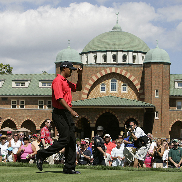 2006                                              With Medinah's unique clubhouse in the background, Woods used his intensity and focus to win his third PGA Championship and the 12th major of his career.