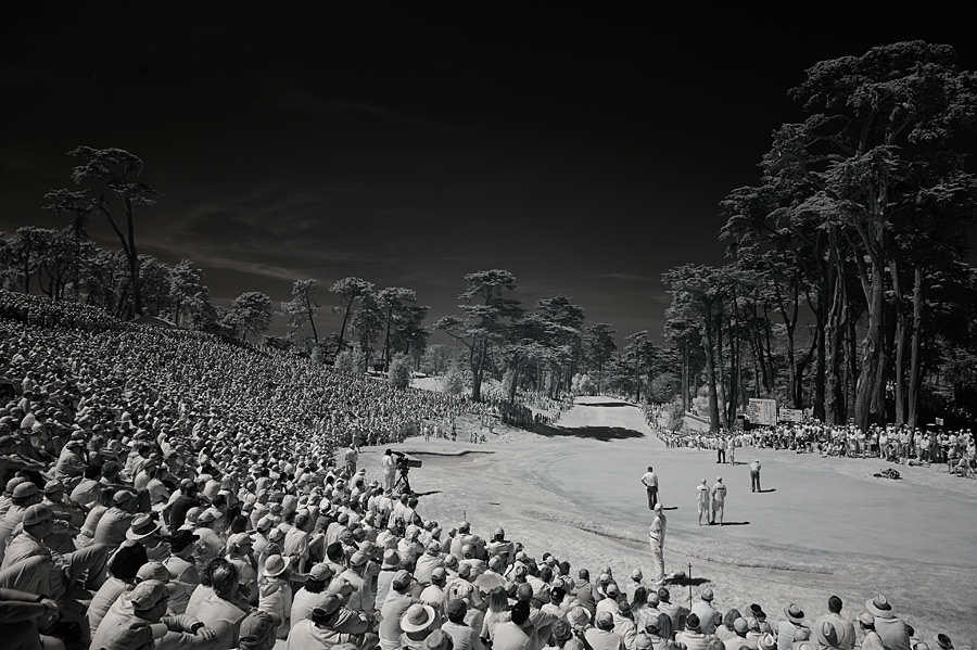 At the 2012 U.S. Open, Sports Illustrated photographer Robert Beck used a Nikon D700 fitted with a sensor that reads infrared light to capture these unique images of the Olympic Club's Lake Course. Here, Tiger Woods putted for birdie on the par-3 8th hole.