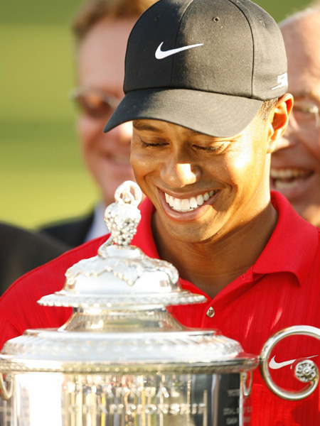 2006                                              Woods basked in the glow of his third PGA Championship after winning the title at Medinah in 2006.