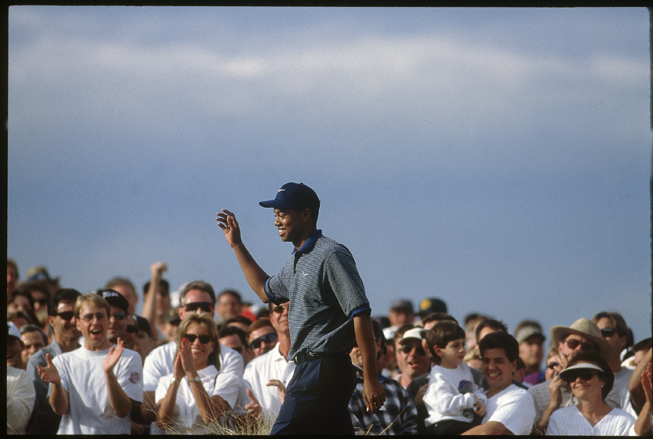 Woods acknowledged the crowd.