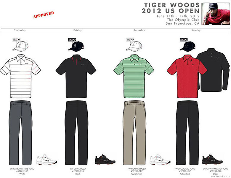 Here's a preview of what some of the pros will be wearing throughout the 2012 U.S. Open.