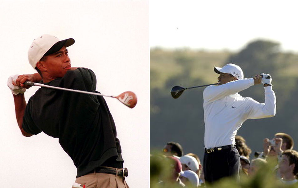 Tiger Woods played the 1995 Open as an amateur (left), introducing his new-age athleticism to the Old Course at St. Andrews. He has won the British three times, including 2005 at St. Andrews, where he wore mock turtlenecks and other performance apparel.