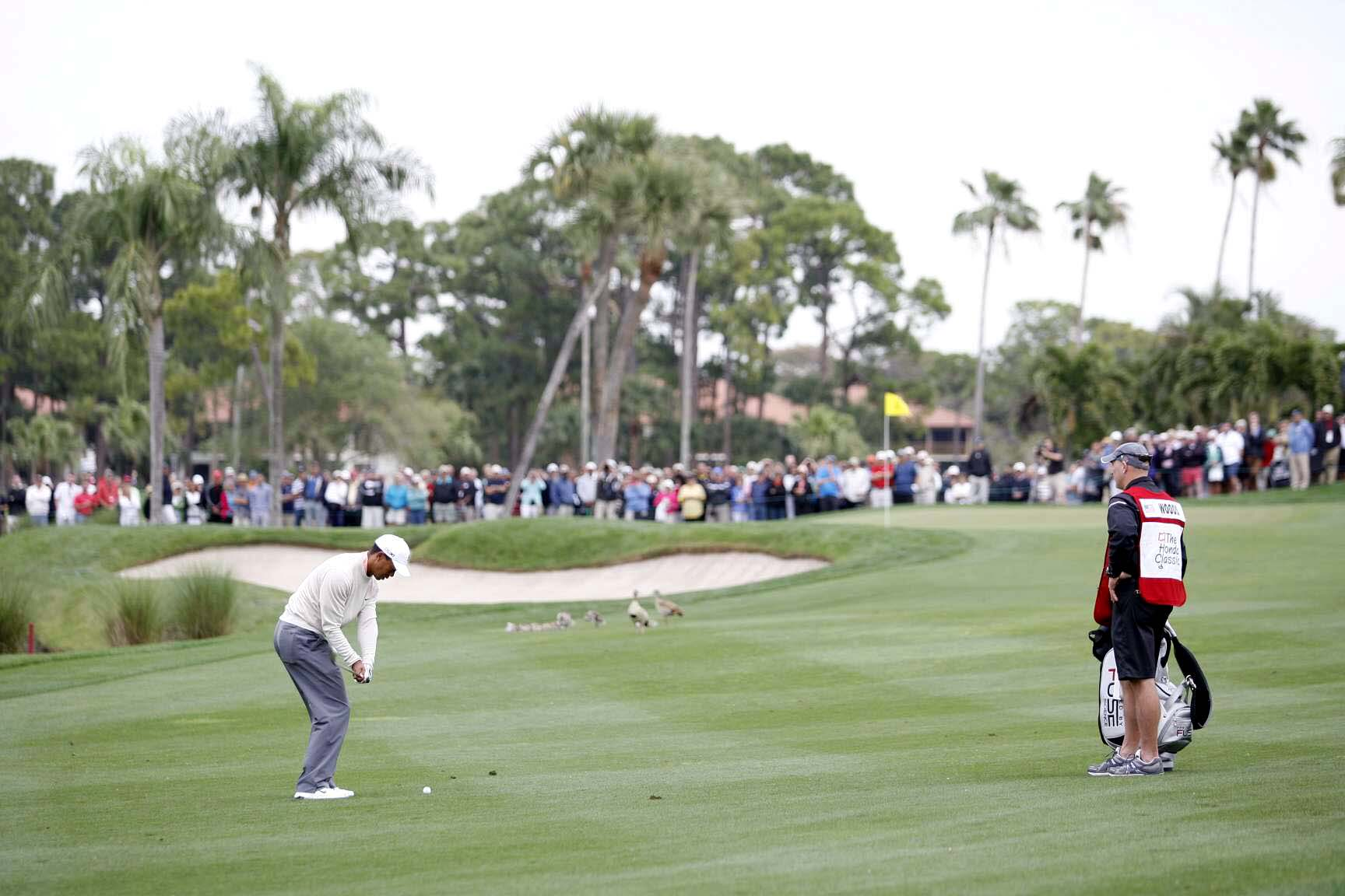 "With his next shot, Tiger a 60-degree wedge to eight feet and drained the putt for par, and then made birdie on the par-3 seventh. ""Could easily have been three [over], and all of a sudden I'm even,"" he said. Woods finished his round with an even-par 70."