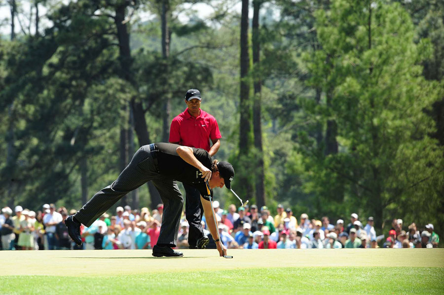Woods and Mickelson were paired together in the final round at the 2009 Masters. Mickelson shot a 30 on the front nine to charge up the leaderboard, but his chances ended after hitting into the water on No. 12.