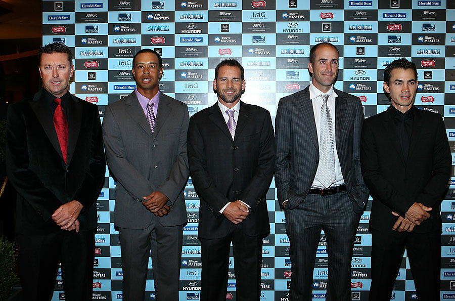 From left to right: Robert Allenby, Tiger Woods, Sergio Garcia, Geoff Ogilvy and Camilo Villegas attend the 2010 Crown's Australian Masters Gala Dinner at Crown Palladium in Melbourne, Australia.