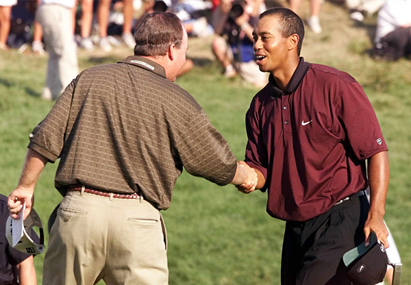 """Bob May                       2000 PGA, Valhalla Golf Club                       Started: One behind Woods                       Finished: Tied with Woods after a 66; in a three-hole playoff,                       Woods went birdie-par-par to May's three pars.                       Woods' score: 67                       Key stat: Woods was two behind with 12 holes to play but                       went 7-under the rest of the way to force extra holes.                       Where it all went wrong: Woods holed a slippery, left-to-right                       six-footer on the last hole of regulation to force a playoff.                       Telling comment: """"That putt was very, very difficult,"""" May                       says today, """"but I never thought he was going to miss it."""""""