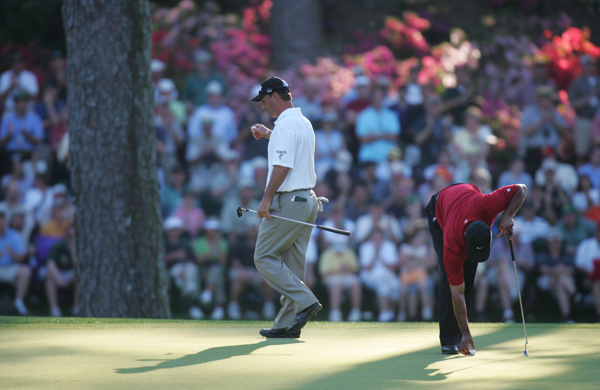 """Chris DiMarco                     2005 Masters, Augusta National Golf Club                     Started: Three behind Woods                     Finished: Tied after a 68                     Woods' score: 71                     Key stat: Woods' opening drive edged DiMarco's — by                     61 yards.                     Where it all went wrong: Woods' celebrated chip at 16                     went in; DiMarco's chip on 18 stayed out.                     Telling comment: """"(My) chip had absolutely no business                     not going in the hole,"""" DiMarco said then. Today he adds:                     """"Tiger does amazing things, and he's going to continue to do                     amazing things. You just have to hope that one of these days                     something good happens to you."""""""