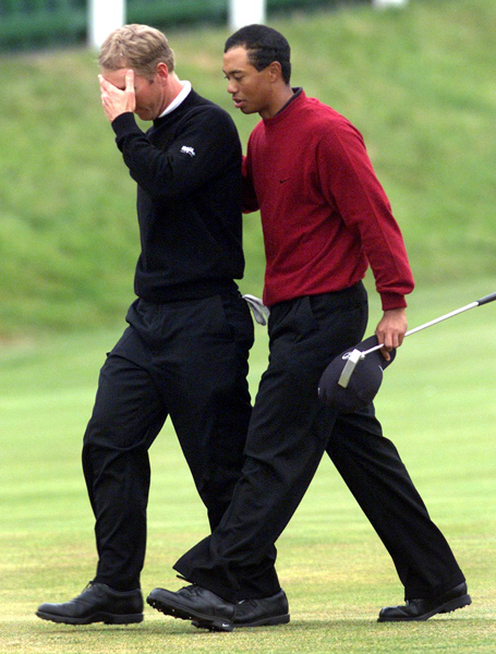 """David Duval                       2000 British Open, Old Course at St. Andrews                       Started: Six behind Woods                       Finished: Tied for 11th after a 75                       Woods' score: 69                       Key stat: In each round, Woods avoided all 112                       bunkers dotting the Old Course.                       Where it all went wrong: Already in the throes                       of back trouble, Duval needed four tries to escape                       the Road Hole bunker and made an eight.                       Telling comment: """"We all know Tiger Woods is                       the best player in the game and that he's better                       prepared than everyone else,"""" Duval said. """"You                       can talk about it until you're blue in the face, but                       somebody's got to go out and do something about it."""""""
