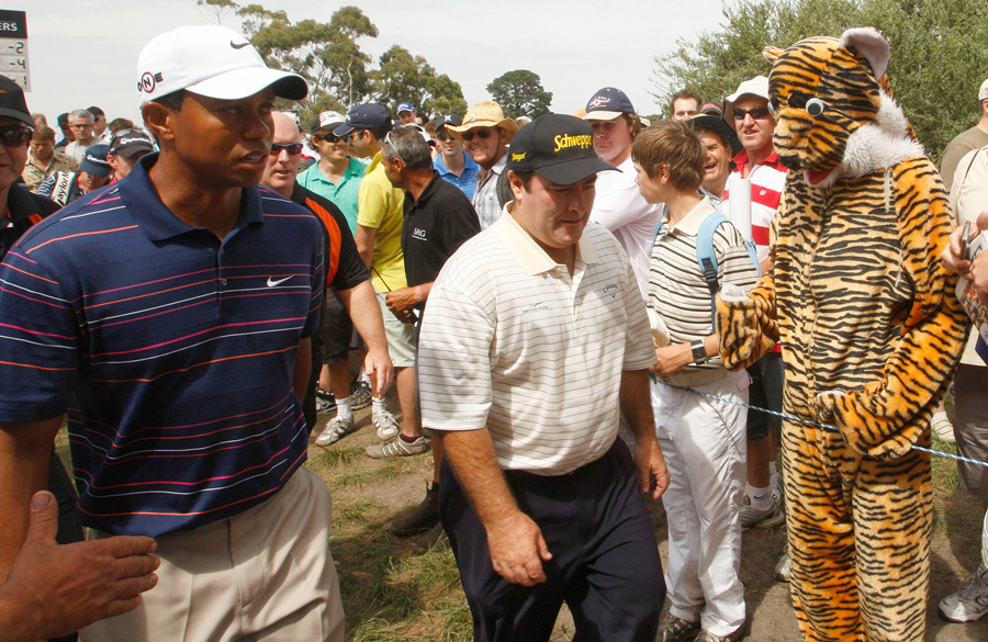 Woods, with Craig Parry, had plenty of support at the 2009 Australian Open.