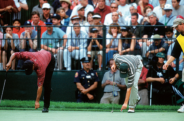 """Sergio Garcia                       2002 U.S. Open, Black Course at Bethpage State Park                       Started: Four behind Woods                       Finished: Fourth after a 74                       Woods' score: 72                       Key stat: Woods hit                       12 fairways and 15                       greens on Sunday                       compared to Garcia's                       9 and 13, respectively.                       Where it all went                       wrong: Sergio's                       ceaseless waggles +                       Unforgiving New York                       gallery = Relentless                       heckling.                       Telling comment:                       """"I tried,"""" Garcia said."""