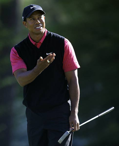 "A higher power must be to blame for the ball not going where Woods intended on the 14th. He went on to bogey the hole. ""I didn't putt well all week,"" he said. He finished in second place, three strokes off the lead."