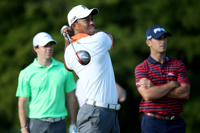 Tiger Woods, Rory McIlroy and Billy Horschel played holes 11-18 Wednesday morning at Merion.